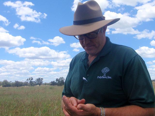 Joel Salatin considering pasture-croppin at Col Seis's farm